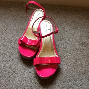 Kate Spade Hot Pink Cork Wedges with Bow Toe 7